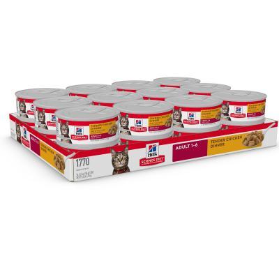 Hills Science Diet Tender Chicken Dinner Adult Canned Wet Cat Food 156gm x 24  (1770)