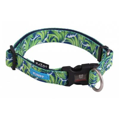Kazoo Funky Adjustable Nylon Collar Waves 37-55cm x 20mm Large For Dogs