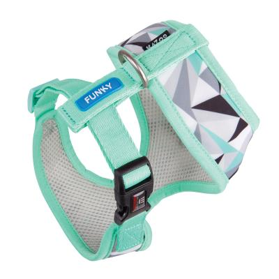 Kazoo Funky Soft Walking Harness Mint Abstract Medium 46cm Neck x 58-82cm Girth For Dogs