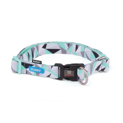 Kazoo Funky Adjustable Nylon Collar Mint Abstract 37-55cm x 20mm Large For Dogs