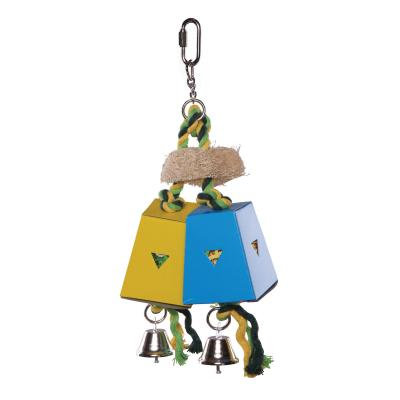 Kazoo Twin Parallel Cardboard Foraging Box Medium Bell Toy For Birds