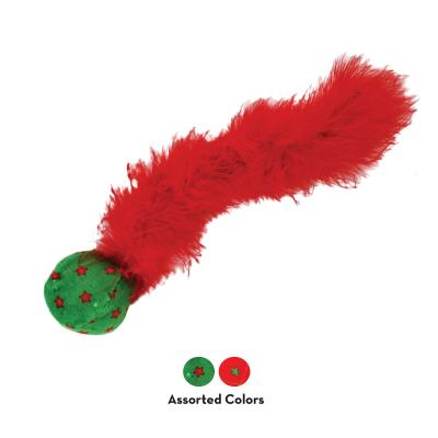 KONG Holiday Christmas Active Wild Tails Rattle And Feather Chase Toy For Cats
