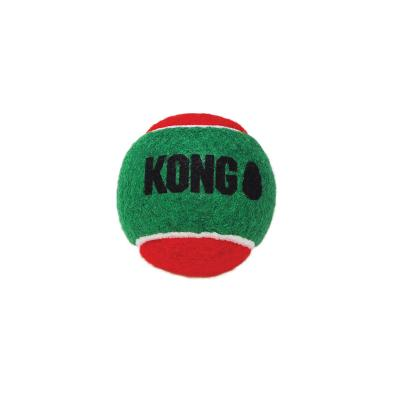 KONG Holiday Christmas SqueakAir Squeaker Christmas Balls Medium Nonabrasive Felt Toy For Dogs 3 Pack