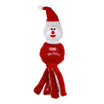 KONG Holiday Christmas Wubba Flatz Santa Large Squeak Toy For Dogs