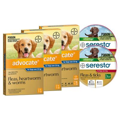 Advocate And Seresto For XLarge Dogs Over 25kg - 8 Month Protection Pack