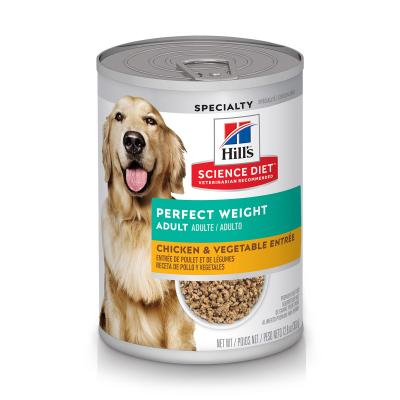 Hills Science Diet Perfect Weight Chicken And Vegetable Adult Canned Wet Dog Food 363g x 12  (2975)