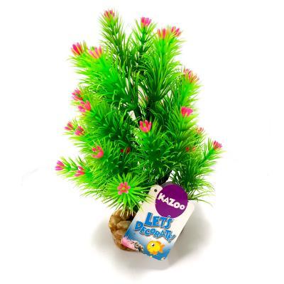 Kazoo Aquarium Fish Tank Single Plastic Plant Pine Leaf With Flowers Medium Assorted Colours
