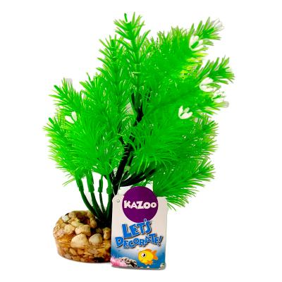 Kazoo Aquarium Fish Tank Single Plastic Plant Pine Leaf With Flowers Medium Assorted Colours