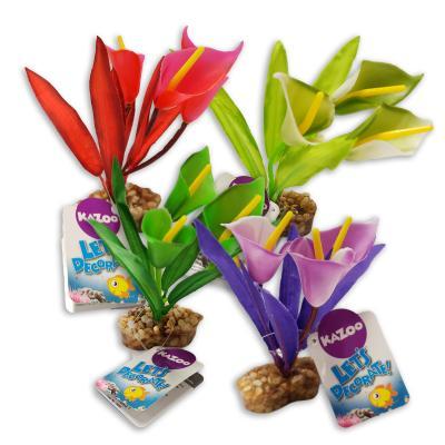 Kazoo Aquarium Fish Tank Single Silk Plant Funnel Leaf Assorted Colours