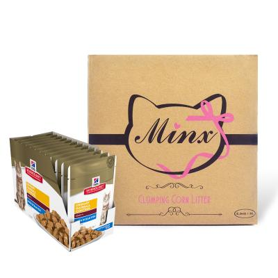 Minx Clumping Corn Cat Litter 1 Month Supply 2.5kg* With Hills Science Diet Urinary Hairball Control Ocean Fish Adult Pouches Wet Cat Food 85gm x 12