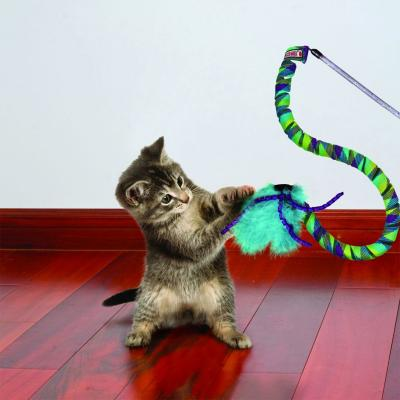 KONG Cat Curlz Teaser Feather Ribbon Wand Toy For Cats