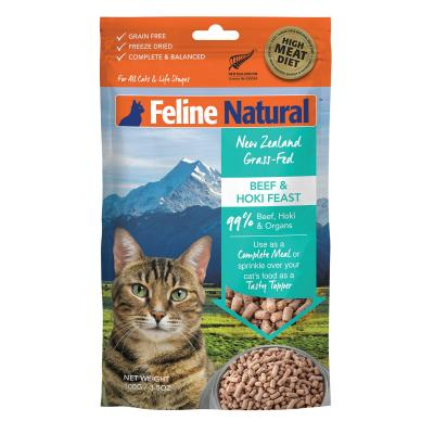 Feline Natural Grain Free Beef And Hoki Feast Freeze Dried Meat Rehydratable All Life Stages Cat Food 100g