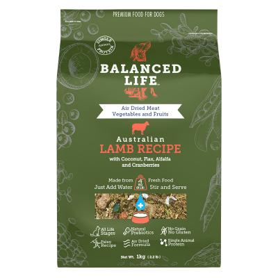 Balanced Life Grain Free Lamb Recipe Puppy And Adult Rehydratable Dog Food 1kg