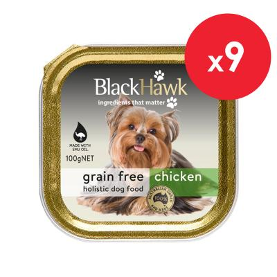 Black Hawk Grain Free Chicken Adult Canned Wet Dog Food 100gm X 9