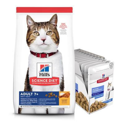 Hills Science Diet Active Longevity Chicken 7+ Mature Cat Food 6kg With Ocean Fish Mature 7+ Wet Pouches 85g x 12