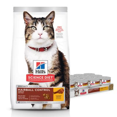 Hills Science Diet Hairball Control Chicken Adult Dry Food 4kg With Hairball Control Chicken Adult Wet Cans 156g x 24
