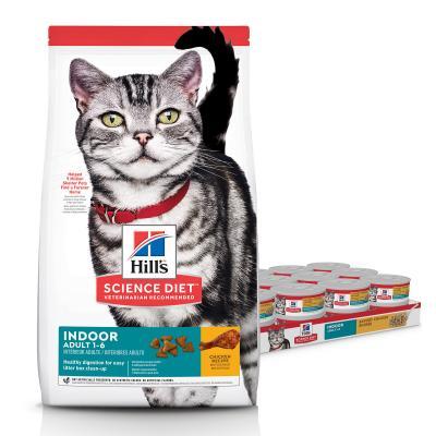 Hills Science Diet Indoor Chicken Adult Dry Cat Food 4kg With Indoor Chicken Adult Cans Wet 156g x 24
