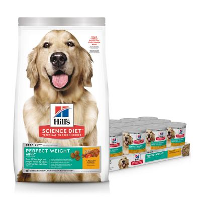 Hills Science Diet Perfect Weight Chicken Adult Dry Dog Food 6.8kg With Perfect Weight Chicken Vegetable Adult Wet Cans 363g x 12