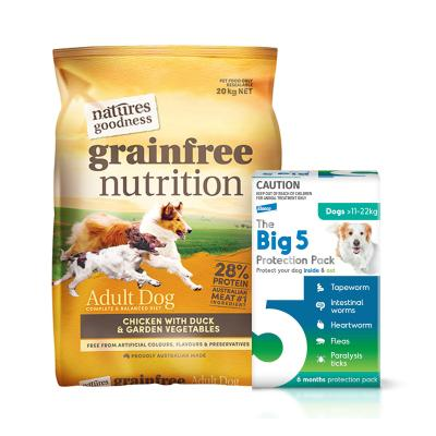 The Big 5 Protection Pack Green 11-22kg 6 Pack (Interceptor + Credelio) With Natures Goodness Grain Free Chicken Duck Vegetables Dry Dog Food 20kg