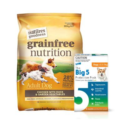 The Big 5 Protection Pack Orange 5.5kg-11kg 6 Pack With Natures Goodness Grain Free Chicken Duck Vegetables Dry Dog Food 20kg