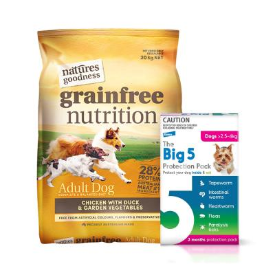 The Big 5 Protection Pack Pink 2.5kg-4kg 6 Pack (Interceptor + Credelio) With Natures Goodness Grain Free Chicken Duck Vegetables Dry Dog Food 20kg