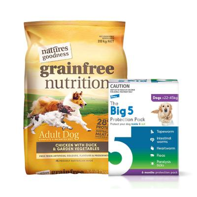 The Big 5 Protection Pack Purple 22kg-45kg 6 Pack (Interceptor + Credelio) With Natures Goodness Grain Free Chicken Duck Vegetables Dry Dog Food 20kg