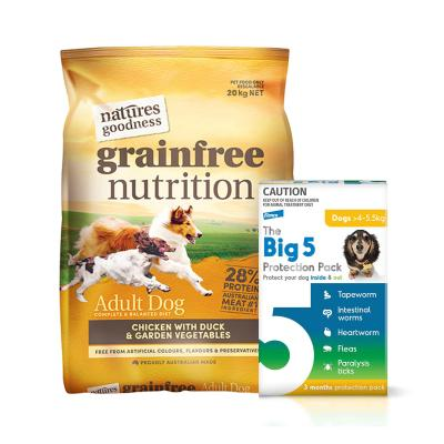 The Big 5 Protection Pack Yellow 4kg-5.5kg 6 Pack (Interceptor + Credelio) With Natures Goodness Grain Free Chicken Duck Vegetables Dry Dog Food 20kg