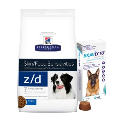 Bravecto Large Dogs 20-40kg 1 Chew With Hills Prescription Diet Canine z/d Dry Dog Food 11.3kg