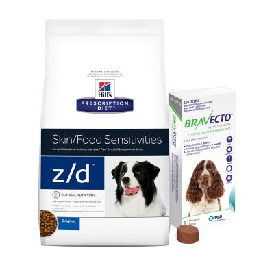 Bravecto Medium Dogs 10-20kg 1 Chew With Hills Prescription Diet Canine z/d Dry Dog Food 11.3kg