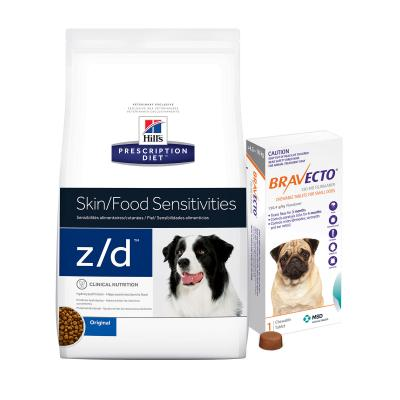 Bravecto Small Dogs 4.5-10kg 1 Chew With Hills Prescription Diet Canine z/d Dry Dog Food 11.3kg