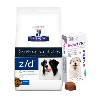 Bravecto Very Large Dogs 40-56kg 1 Chew With Hills Prescription Diet Canine z/d Dry Dog Food 11.3kg