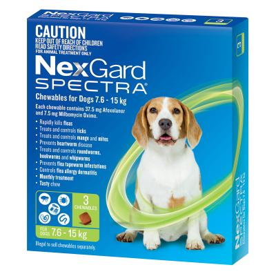 NexGard Spectra Chewables For Dogs Green 7.6-15kg 3 Pack