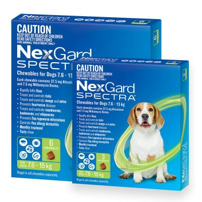 NexGard Spectra Chewables For Dogs Green 7.6-15kg 9 Pack