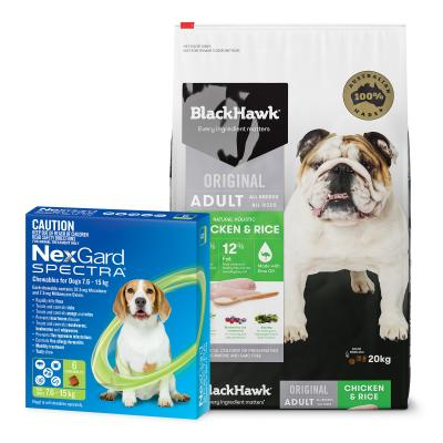 NexGard Spectra Green 7.6-15kg 6 Pack With Black Hawk Adult Chicken Rice Dog Food 20kg