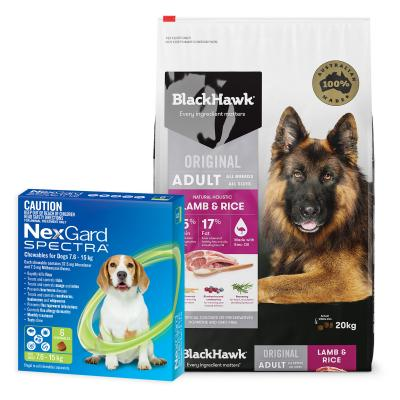 NexGard Spectra Green 7.6-15kg 6 Pack With Black Hawk Adult Lamb Rice Dog Food 20kg