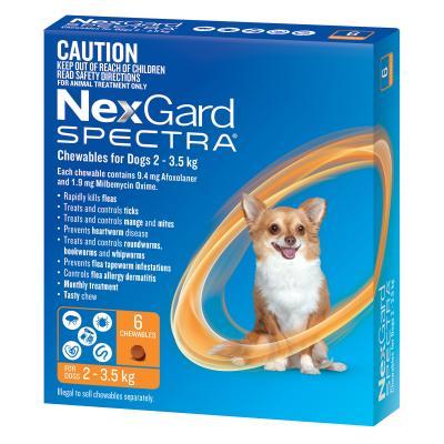 NexGard Spectra Chewables For Dogs Orange 2-3.5kg 6 Pack