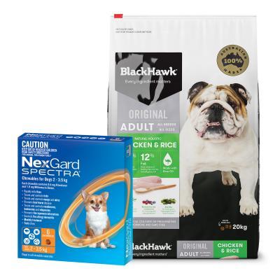 NexGard Spectra Orange 2-3.5kg 6 Pack With Black Hawk Adult Chicken Rice Dog Food 20kg