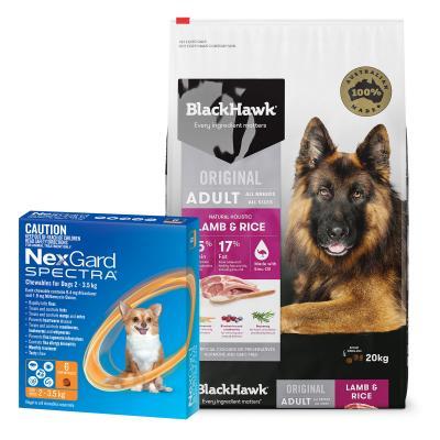 NexGard Spectra Orange 2-3.5kg 6 Pack With Black Hawk Adult Lamb Rice Dog Food 20kg