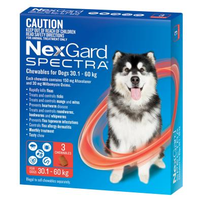 NexGard Spectra Chewables For Dogs Red 30.1-60kg 3 Pack