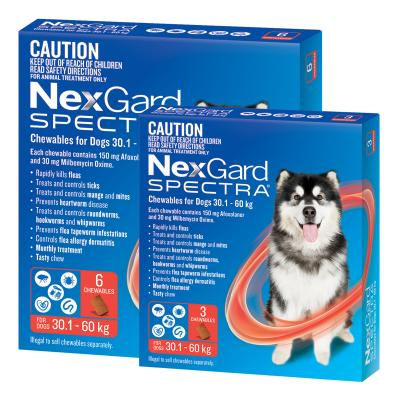NexGard Spectra Chewables For Dogs Red 30.1-60kg 9 Pack