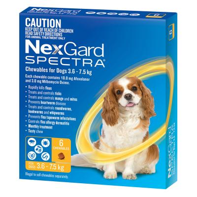 NexGard Spectra Chewables For Small Dogs Yellow 3.6 -7.5kg 6 Pack