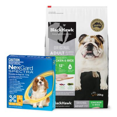NexGard Spectra Yellow 3.6 -7.5kg 6 Pack With Black Hawk Adult Chicken Rice Dog Food 20kg