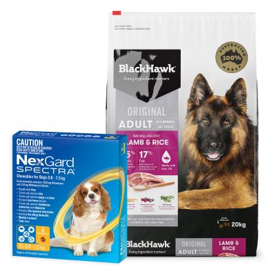 NexGard Spectra Yellow 3.6 -7.5kg 6 Pack With Black Hawk Adult Lamb Rice Dog Food 20kg