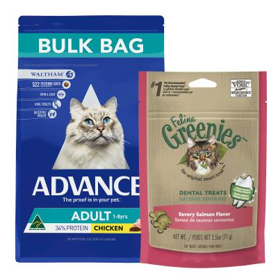 Advance Adult Chicken Dry Cat Food 20kg With Greenies Feline Dental Treats Salmon Flavour For Cats 71g