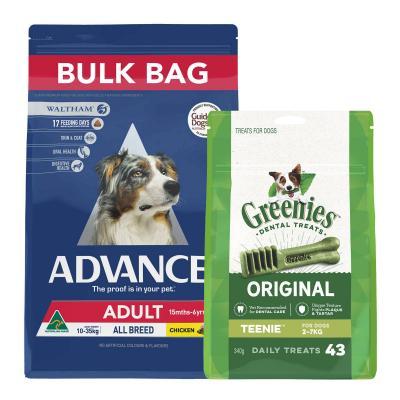 Advance All Breed Chicken Adult Dry Dog Food 20kg With Greenies Dental Dog Treats Original Teenie 2-7kg (43 Treats) 340g
