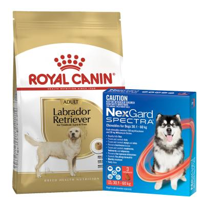 NexGard Spectra Chewables Red 30.1-60kg 3 Pack With Royal Canin Labrador Adult Dry Dog Food 12kg