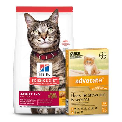 Advocate Cats And Kittens Small Up To 4kg 3 Pack With Hills Science Diet Optimal Care Chicken Adult Dry Cat Food 6kg