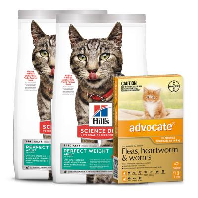Advocate Cats And Kittens Small Up To 4kg 3 Pack With Hills Science Diet Perfect Weight Chicken Adult Dry Cat Food 6.34kg