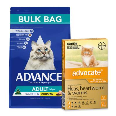 Advocate For Cats And Kittens Small Up To 4kg 6 Pack And Advance Adult Chicken Dry Cat Food 20kg