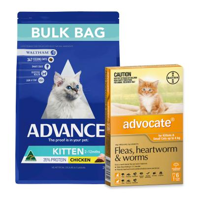 Advocate For Cats And Kittens Small Up To 4kg 6 Pack And Advance Kitten Plus Growth Chicken Dry Cat Food 20kg